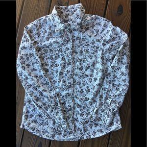 Brown & Cream Floral Western Shirt-M